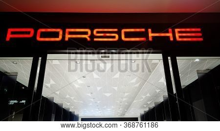 Bangkok, Thailand - May 4 : Porsche Automobile Dealership Sign Logo At Iconsiam. The Iconsiam Is The