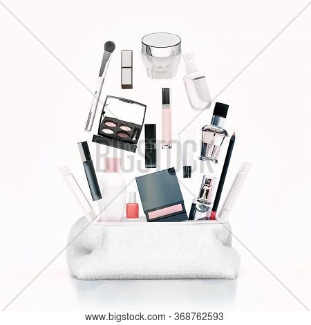 Cosmetic Bag, Fashion, Beauty, Make-up. White Makeup Bag And Cosmetic Products On To White Backgroun