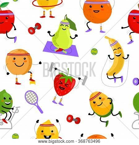 Fruits Sportsman Seamless Pattern. Sport Fruits Characters. Healthy Eating. Summer Seamless Vector P