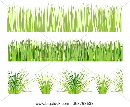 Green Grass Lawn, Border Or Meadow Vector Illustration Set. Horizontal Seamless Background.