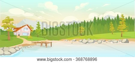Country House Next To River Flat Color Vector Illustration. Forest At Sunset 2d Cartoon Landscape Wi