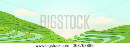 Terraced Fields At Sunrise Flat Color Vector Illustration. Sunny Morning In Chinese Farmlands. Tea P