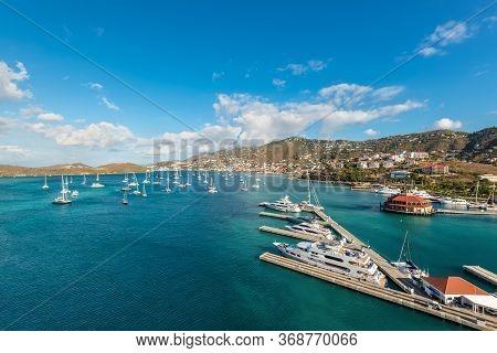 Charlotte Amalie, St. Thomas, United States V. Islands (usvi) - April 30, 2019: Wide Angle View Of T