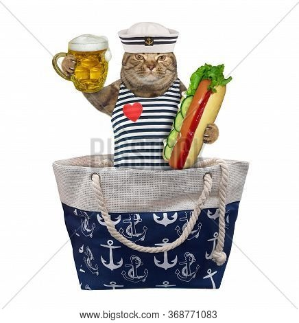 The Beige Cat In Seaman Clothing With A Mug Of Light Beer And A Big Hot Dog Is Sittin In A Bag. Whit