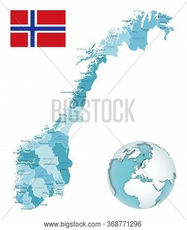 Norway Administrative Blue-green Map With Country Flag And Location On A Globe.