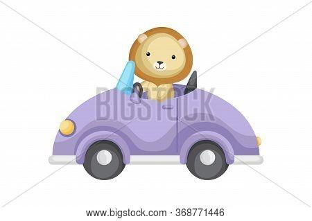 Cute Lion Driver On Car. Graphic Element For Childrens Book, Album, Scrapbook, Postcard Or Mobile Ga
