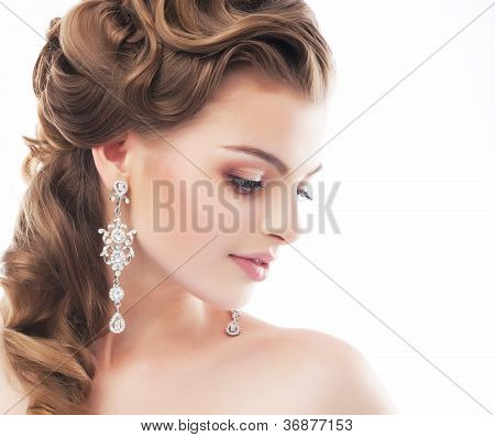 Happy Sensual Pretty Woman. Bright Make Up