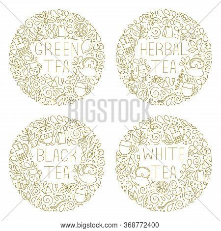 Round Frames On Tea Theme In A Linear Style. Vector Illustration.