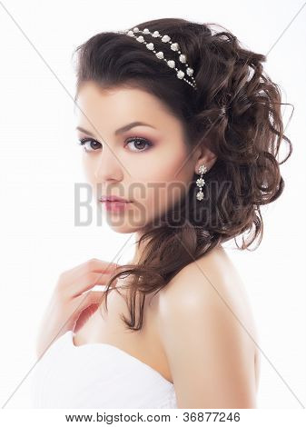 Wedding Style - Gentle Young Fiancee. Coiffure And Makeup