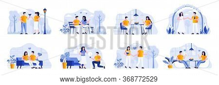 Love Couple Bundle With People Characters. Couple Walking In Park, Romantic Date In Restaurant, Man