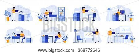 Office Management Scenes Bundle With People Characters. Businesspersons Working With Computer At Wor