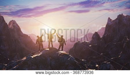 A Team Of Three Celebrates A Luncheon On Top Of A Mountain Against A Sunset. 3d Rendering