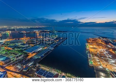 Areal View Of Osaka Port Area And Cityscape From Cosmo Tower In Osaka, Japan
