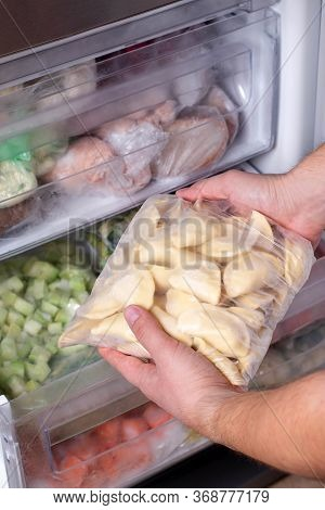 Frozen Dumplings In Refrigerator. Frozen Dumplings, A Dish Of Dough And Flour. Many Dumplings In The