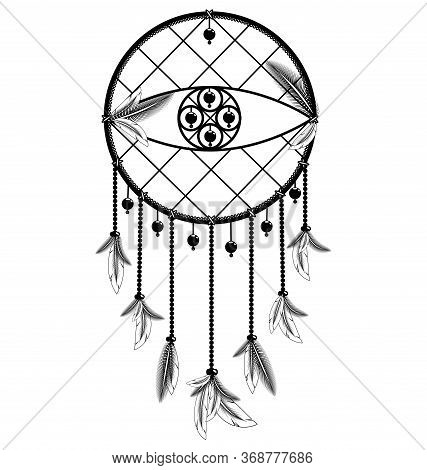 Vector Illustration White Black Colored Image Of Dreamcatcher With Feathers