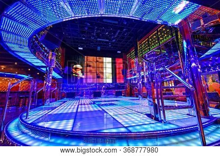 Kristiansand, Norway - July 19, 2017: Illuminated Dance Floor Of The Etoile Nightclub Aboard The Cru