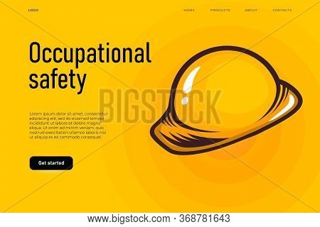 Safety Equipment Illustration Concept. Occupational Safety Landing Page Template, Worker Banner Whic
