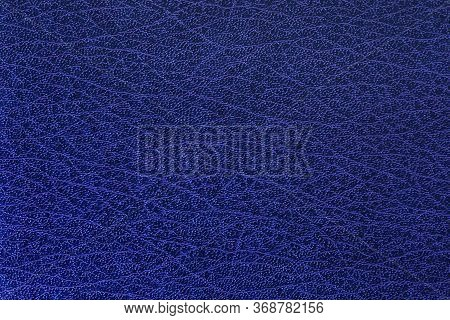 Blue Leather Texture Background Surface. Close Up