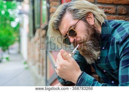 Sensual Man Smoking Outside. Tobacco. Smoking Hipster. Sensual Bearded Man With Cigarette. Cigarette