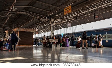 Agra, India - December 12, 2018: Railway Station Platform In India.