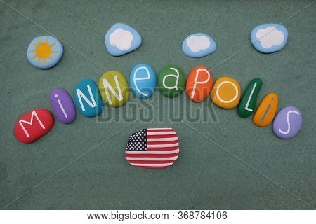 Minneapolis, The Largest City In The Usa State Of Minnesota, Souvenir With  Handmade Multi Colored S