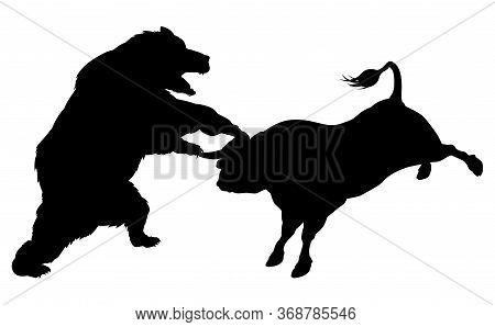 Bear Fighting Bull In Silhouette, Standing For The Bears Versus Bulls Stock Market Metaphor In Silho