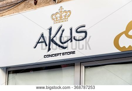 Cefalue, Sicily - February 11, 2020: The Logo Of Akus Concept Store In Cefalu, Sicily Which Sells Fa