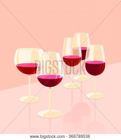 Glass Goblets For Wine. There Is Some Red Wine In The Glasses. Set Of Flat Vector Illustration.