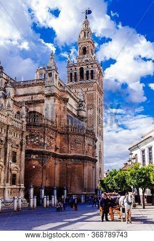 Sevilla, Andalusia, Spain  - 14 May 2013: Giralda Sevilla Cathedral.