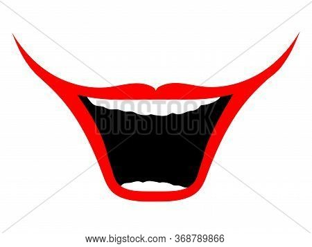 Isolated Big Happy Smile. Clown Smile - Vector. Big, Smiling Clown Mouth On A White Background. Desi
