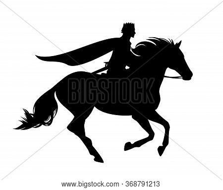 Fairy Tale Prince Riding Horse Galloping Forward - Medieval Fantasy Hero Black And White Vector Silh