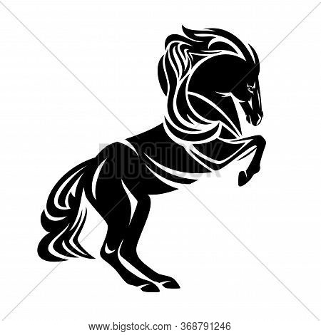 Wild Mustang Horse Rearing Up Side View Black And White Vector Silhouette Outline