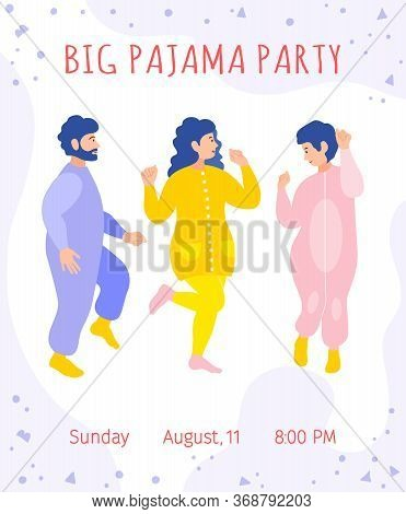 Pajama Party Invitation Template. Vector. Dancing Funny People In Pajamas In A Flat Style.