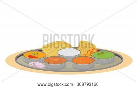 Thali Cartoon Vector Illustration. Indian Traditional Dish, Metal Plate With Meals Flat Color Object