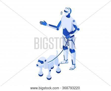 Robot Walks Robops Isometric.. Robotic Illustration Humanoid