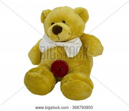 Stuffed Toy, Teddy Bear With A Bow Isolated On A White Background. Item For Greeting Card, Scene Cre