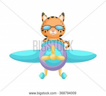 Cute Lynx Pilot Wearing Aviator Goggles Flying An Airplane. Graphic Element For Childrens Book, Albu