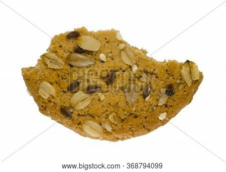 Cereal Cookie With Seeds And Nuts Close Up Isolated On A White Background. Healthy Food, Gluten Free