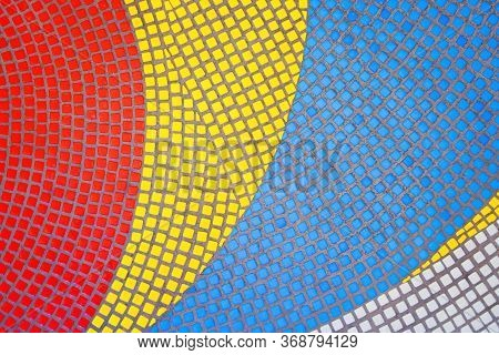 Red, Yellow, Blue, White Mosaic. The Patterns Of The Mosaic. Colorful Pano