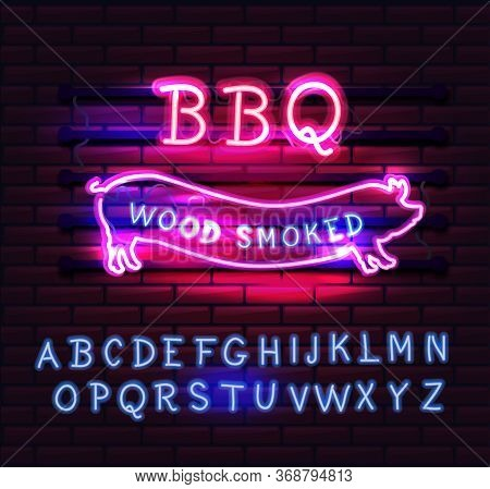 Red And Pink Neon Bbq Pig Sign On A Brick Background . Bbq Of Neon-style.