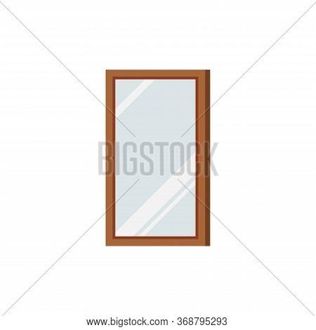 Wooden Frame Rectangular Mirror Isolated On White Background. Hallway, Bedroom Home Interior Design