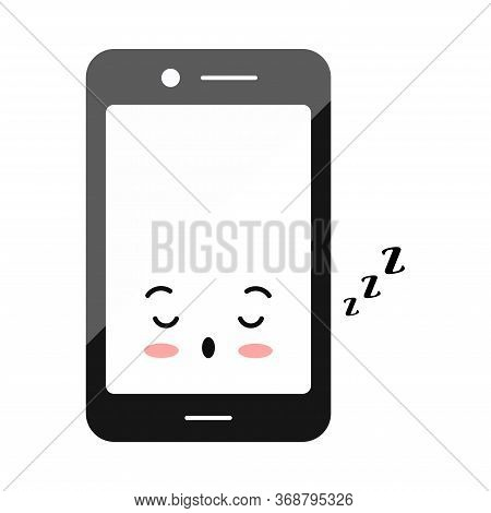 Sleeping Mode Mobile Phone Emoji Icon Isolated On White. Asleep Smartphone Character. Cute Black Mod