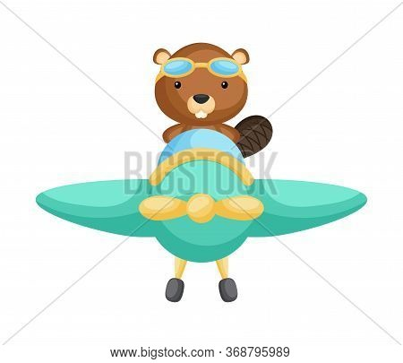 Cute Beaver Pilot Wearing Aviator Goggles Flying An Airplane. Graphic Element For Childrens Book, Al