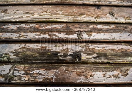The Old Wood Varnished And Shrimped, Texture. Timber Surface Of A Bench, Pattern, Background.