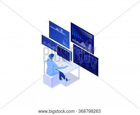 Big Data Analytics Isometric Concept. Global Reach