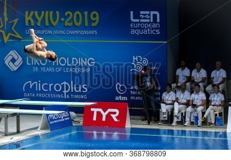 Kyiv, Ukraine - August 7, 2019: Guillaume Dutoit Of Switzerland Performs During Mens 1m Springboard