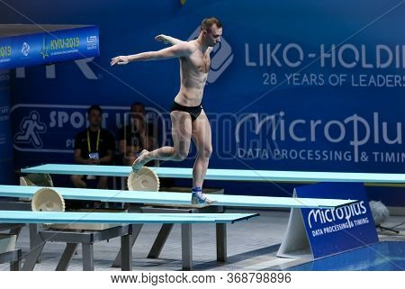 Kyiv, Ukraine - August 7, 2019: Stanislav Oliferchyk Of Ukraine Performs During Mens 1m Springboard