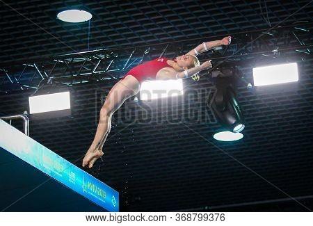 Kyiv, Ukraine - August 6, 2019: Sofiia Lyskun Of Ukraine Performs During Womens 10m Platform Final O