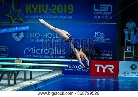 Kyiv, Ukraine - August 6, 2019: Tanya Watson Of Ireland Performs During Womens 10m Platform Final Of