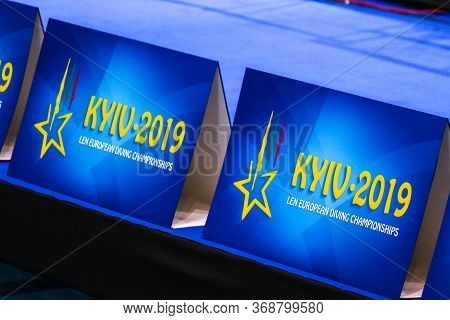 Kyiv, Ukraine - August 6, 2019: Event Logo On The Decoration Board Seen During The 2019 European Div